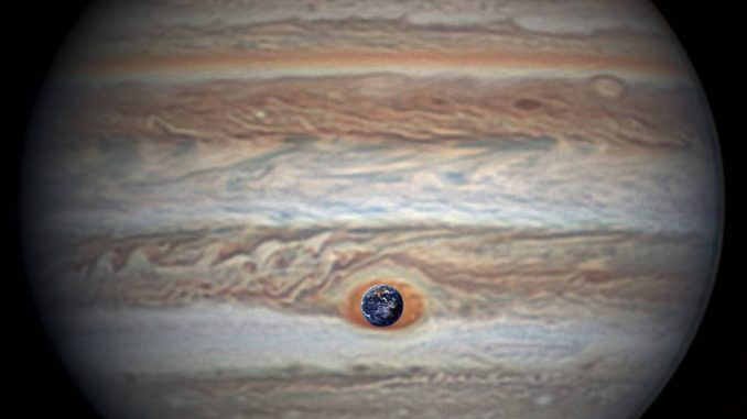Jupiter's Great Red Spot is 1.3 times as wide as Earth. This composite image was generated by combining NASA imagery of Earth with an image of Jupiter taken by astronomer Christopher Go.