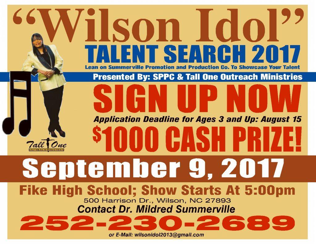 Wilson Idol 2017 flyer. Source: Dr. Mildred Summerville, Wilson Idol.