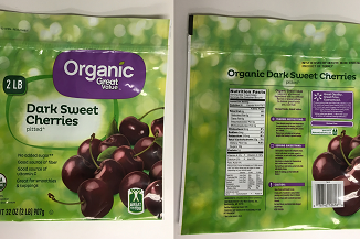 Label for Great Value cherry product released with US FDA recall August 2017.