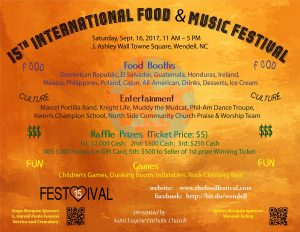 International Food and Music Festival 2017 flyer. Source: Thomas Zang, St. Eugene Catholic Church, Wendell NC.
