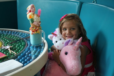 6 year old Imaginormous Winner, Giselle Decker, enjoying her unicorns at Dylan's Candy Bar. Source: PRNewsfoto/Roald Dahl Literary Estate.