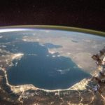 The Caspian Sea as seen from the International Space Station in 2015. Credit: Scott Kelly/NASA Johnson Space Center