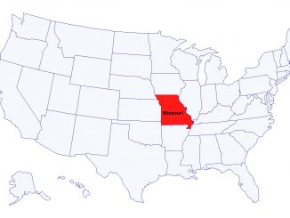 US map with state of Missouri highlighted. Source: The Grey Area News