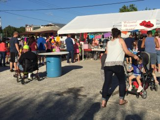 People lined up for food at the 2016 IFMF in Wendell. Photo: Kay Whatley