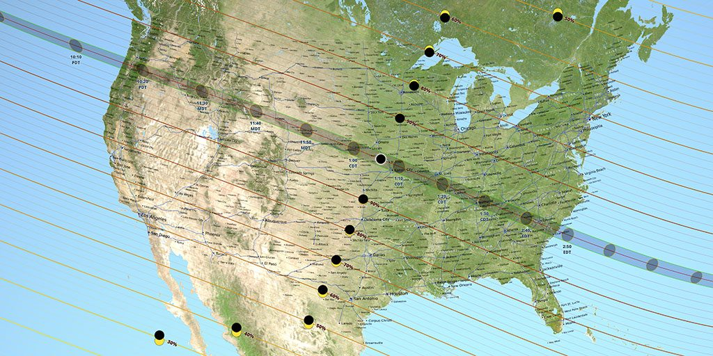 US map showing the path of totality for the August 21, 2017 total solar eclipse. Source: NASA