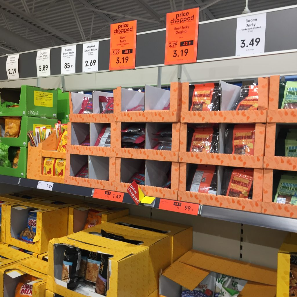 Snacks for sale in Lidl Wilson NC in August 2017. Photo: Kay Whatley