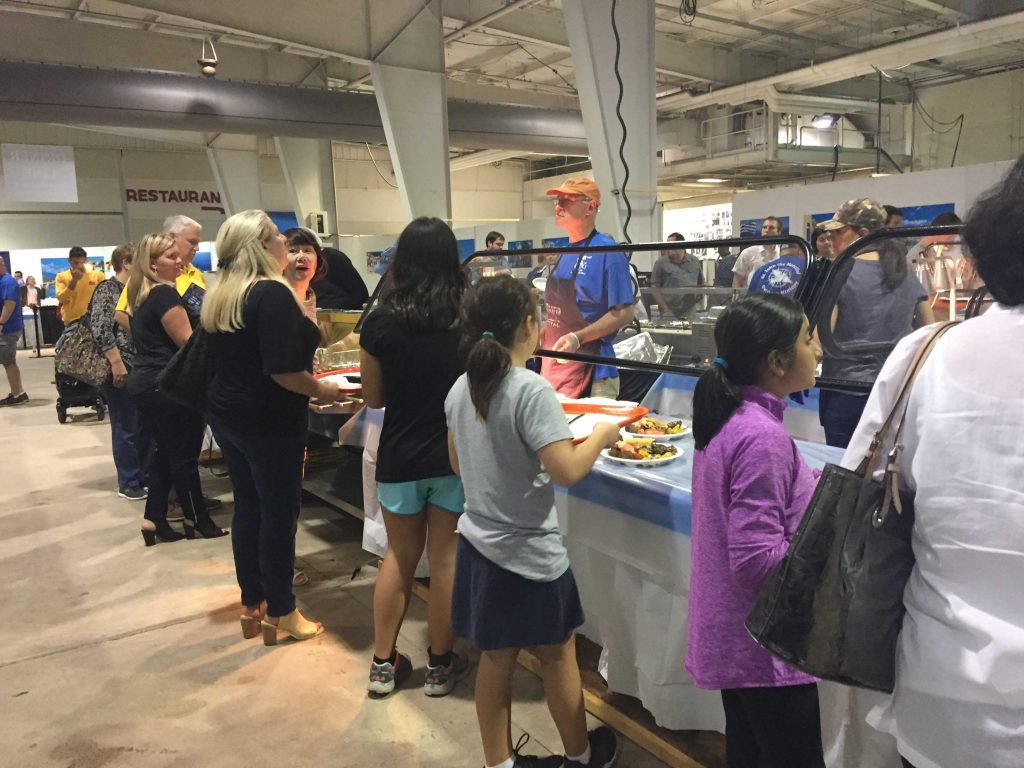 Three lanes of food service at the Raleigh Greek Festival, held September 8-10, 2017, Raleigh NC. Photo: Kay Whatley