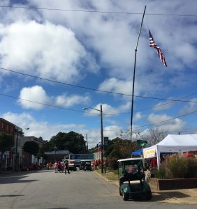 Parade watchers line Main Street at National Pumpkin Festival 2017, Spring Hope NC. Photo: Kay Whatley