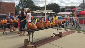 Decorated pumpkins at National Pumpkin Festival 2017, Spring Hope NC. Photo: Kay Whatley