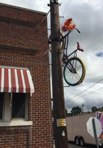 Bicycles decorate telephone poles around Spring Hope NC. Photo: Kay Whatley