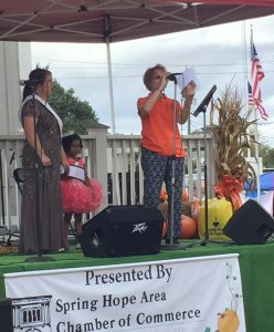 The Pumpkin Queens announcement at National Pumpkin Festival 2017, Spring Hope NC. Photo: Kay Whatley
