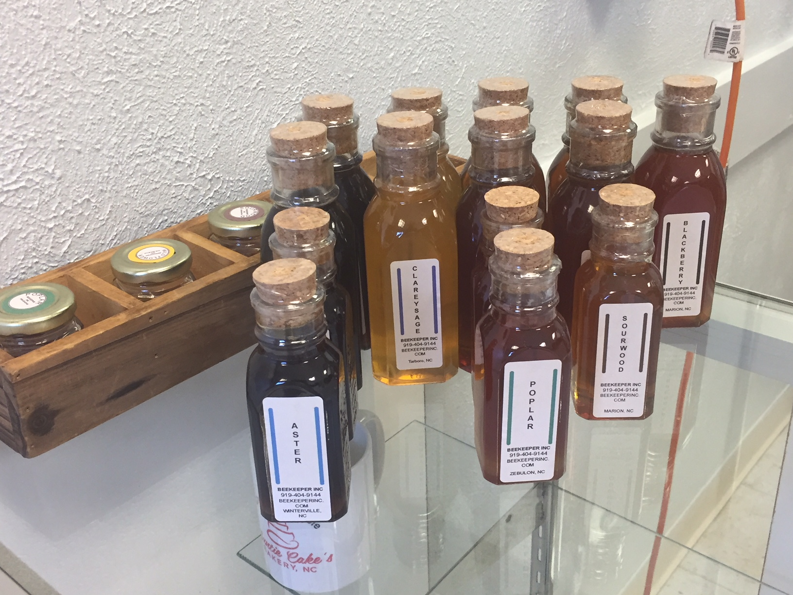 Honey from Beekeeper Inc. for sale in Auntie Cake's Bakery, NC. Photo: Kay Whatley