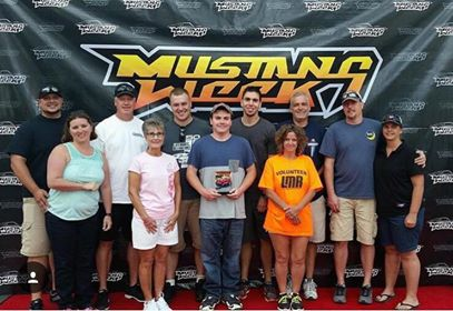 Wake Forest Mustangs with Dalton Fleming at Mustang Week 2017. Supporters Ella Reese (orange shirt) and Clark Webster (behind Ella). Source: Jennifer Fleming