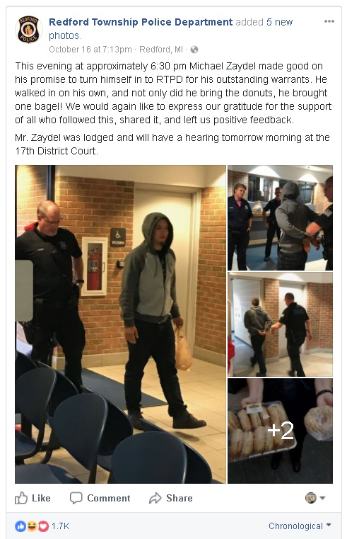 Zaydel surrenders to Redford, Michigan police because they reached 1000 likes on Facebook. Source: RFPD Facebook page.