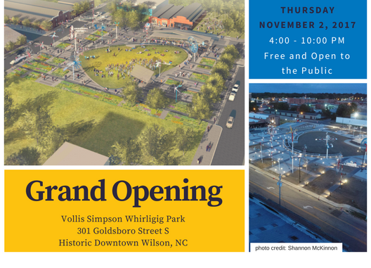 Vollis Simpson Whirligig Park Grand Opening postcard. Source: Wilson Downtown Development Corporation, Wilson, North Carolina