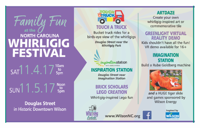 Whirligig Festival 2017 postcard. Source: Wilson Downtown Development Corporation, Wilson, North Carolina