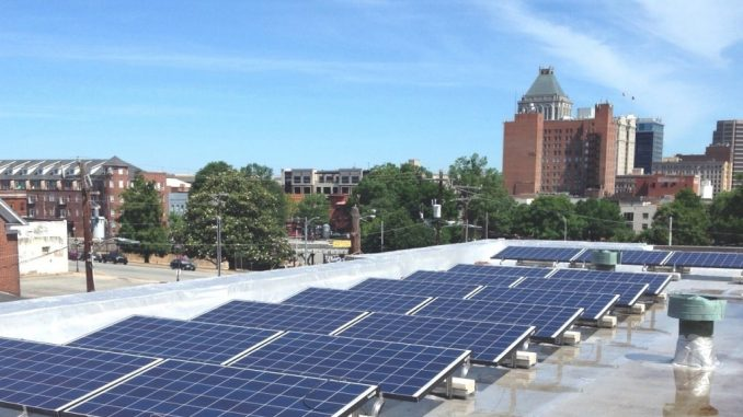Rooftop solar at Faith Community Church, Greensboro NC. Source: NC WARN