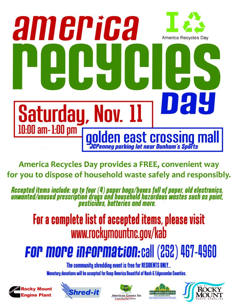 America Recycles Day 2017 flyer, Rocky Mount NC.