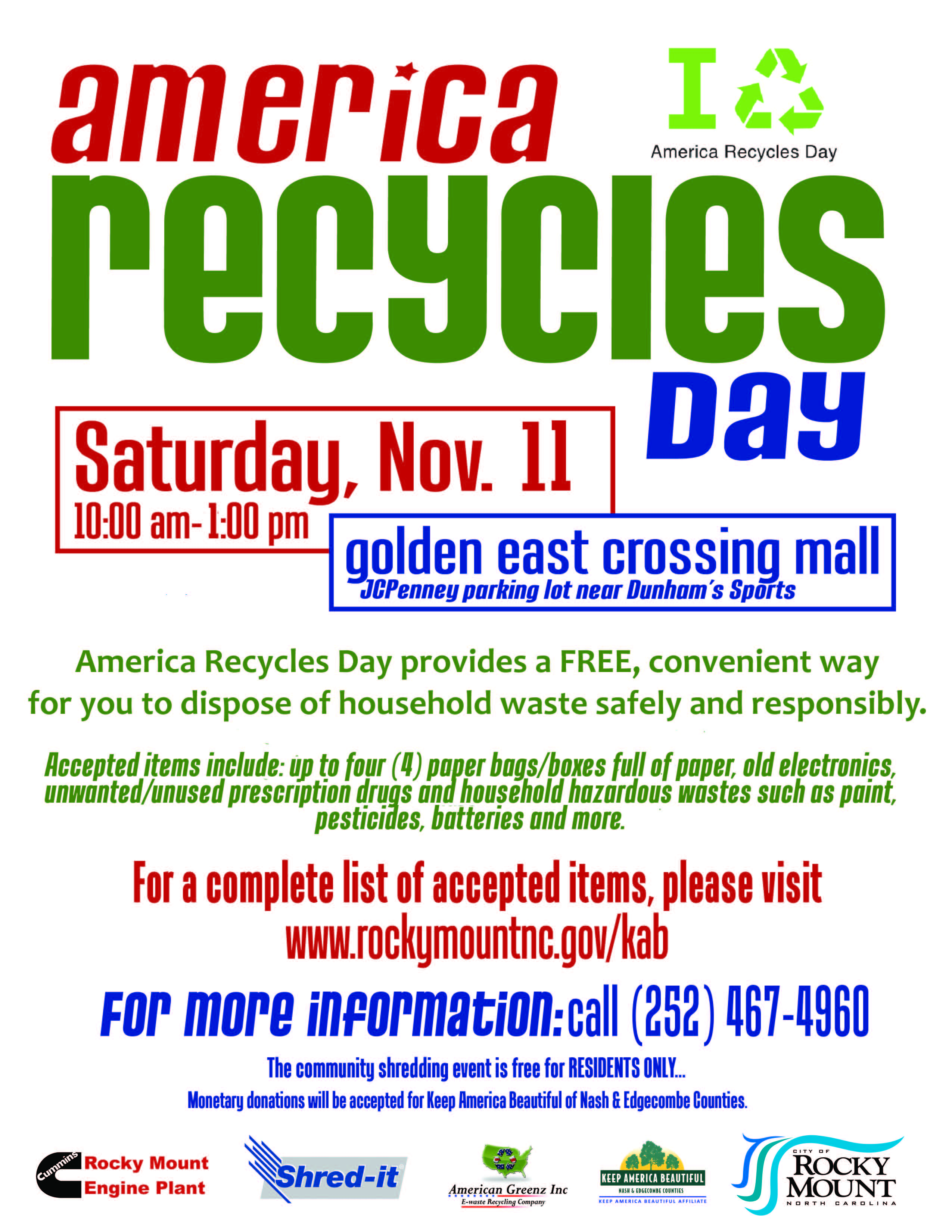 Rocky Mount Offers Household Items Disposal on Nov  11 - The