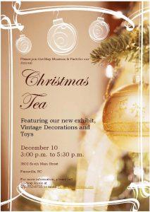 Christmas Tea Invitation 2017, May Museum, Farmville NC.
