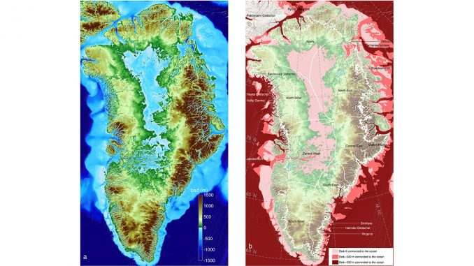 Left: Greenland topography color coded color-coded from 4,900 feet (1,500 meters) below sea level (dark blue) to 4,900 feet above (brown). Right: Regions below sea level connected to the ocean; darker colors are deeper. The tin white line shows the current extent of the ice sheet. Credit: UCI