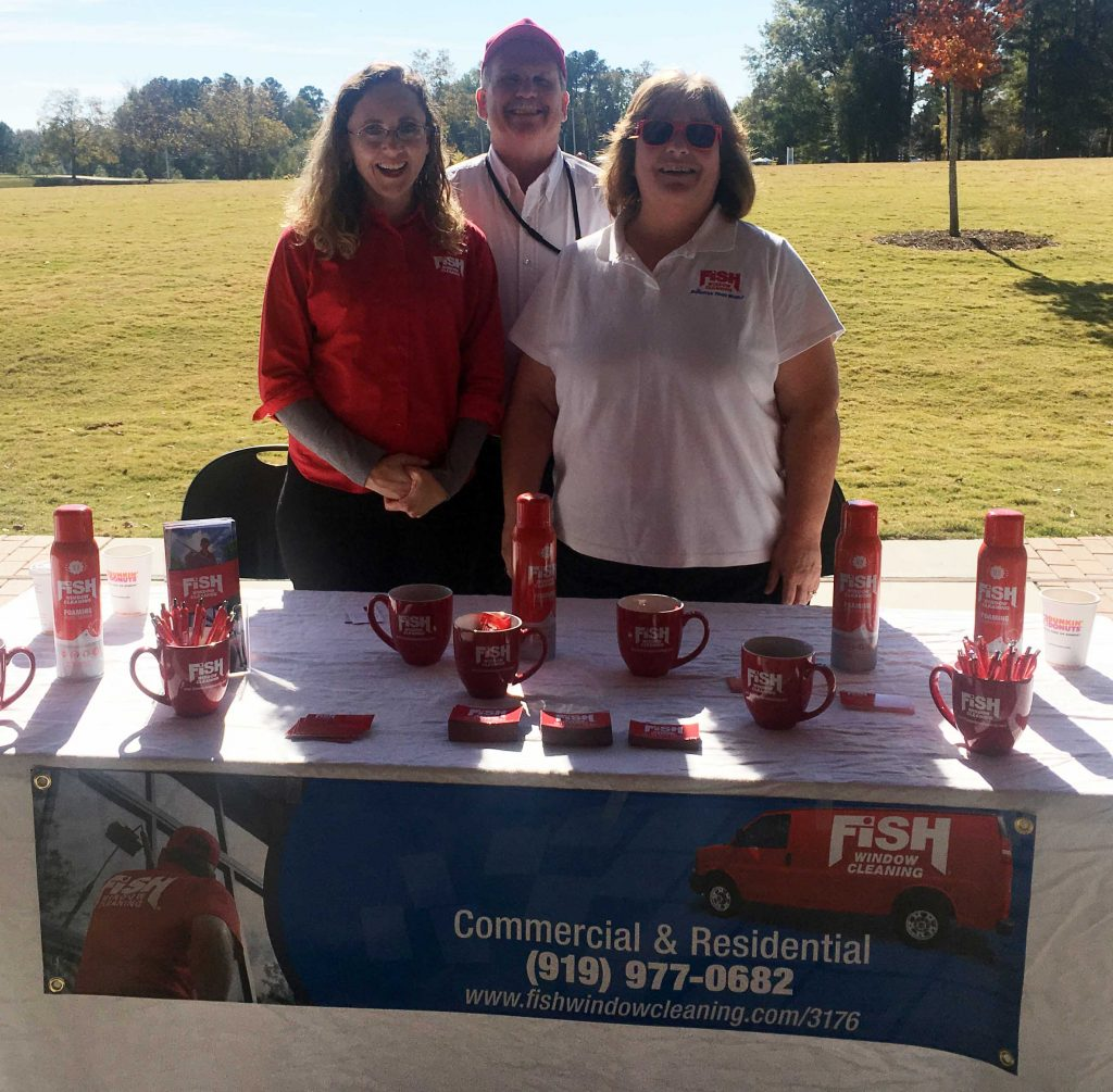 Fish Window Cleaning table at Knightdale Chamber's Red Ribbon Showcase on November 16, 2017. Photo: Nadia Ethier
