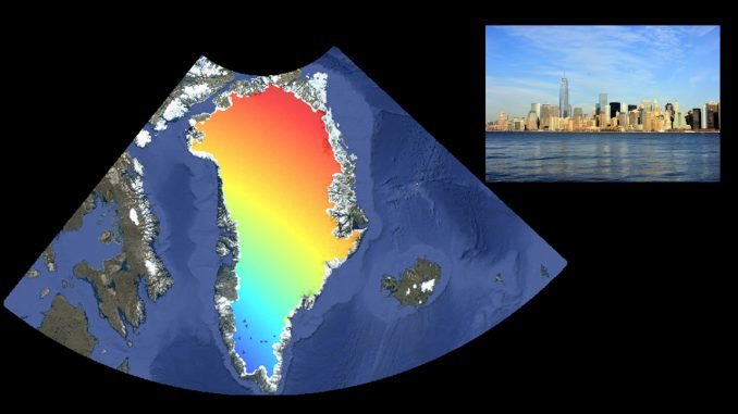 The contribution of melting ice in Greenland to sea level rise in New York City (inset). Red indicates the greatest sea level contribution, blue is the smallest to no contribution. A new NASA tool lets users research the contributions of all regions of global land ice to sea levels in 293 port cities. Data image: NASA/JPL-Caltech/Google. Photo: Wikimedia Commons
