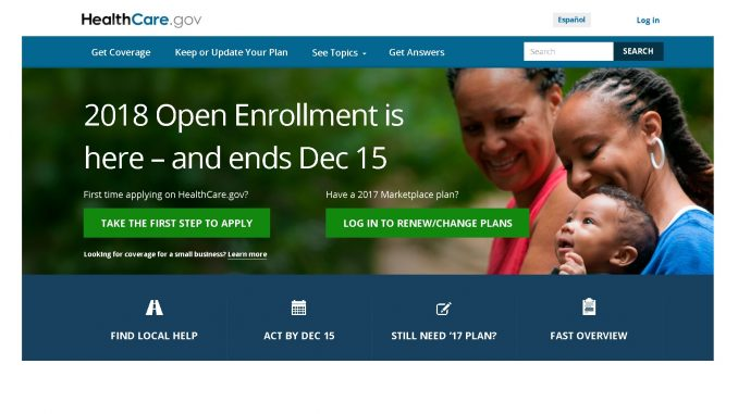 Enroll via www.healthcare.gov by December 15, 2017