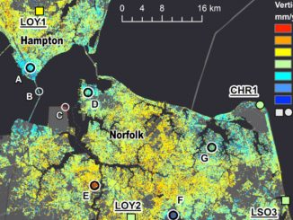 Part of the new map showing subsidence rates in millimeters per year. Locations A through G are areas of unusually high subsidence. CHR1, LOY1, LOY2 and LSO3 are GPS stations. Credit: NASA/JPL-Caltech