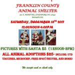 Pet photos with Santa at Franklin County Animal Shelter on December 16, 2017.