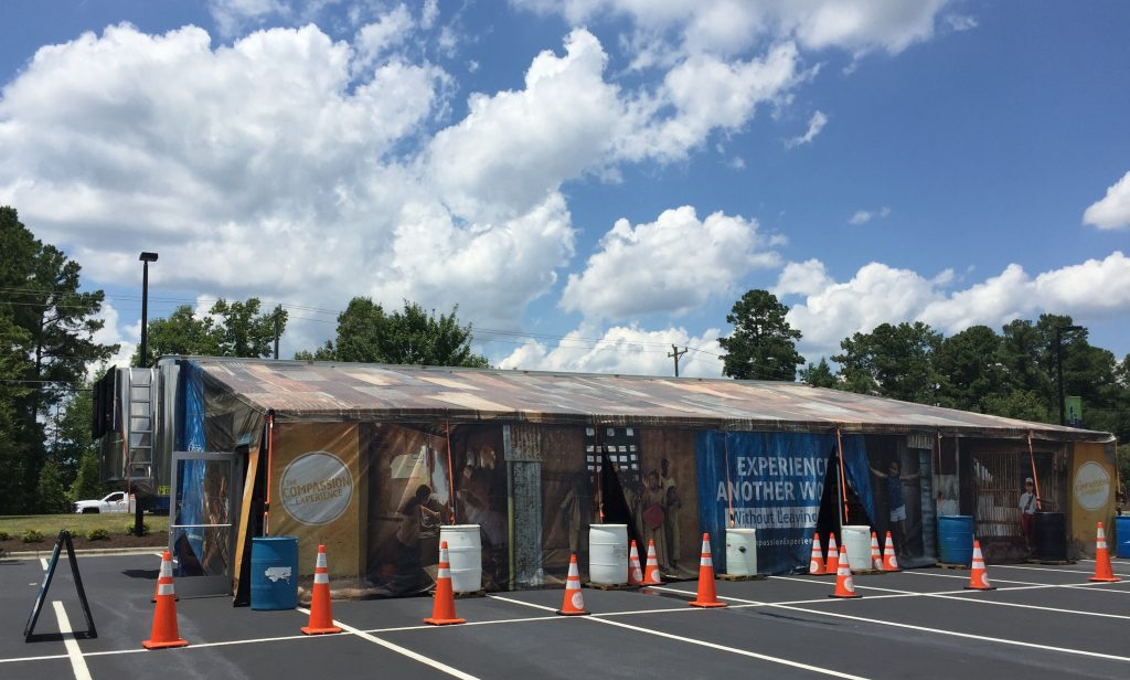The Compassion Experience welcomed visitors at NewHope Church, 7619 Fayetteville Road, Durham NC on July 14, 2017. Tour tickets were free. Photo: Kay Whatley