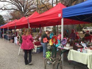Vendors on Sycamore Street at the December 2, 2017 Pop-up Vendor Market, Zebulon NC. Photo: Kay Whatley