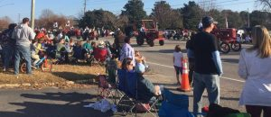 Tractor line in the 2017 Christmas Parade in Zebulon NC. Photo: Kay Whatley
