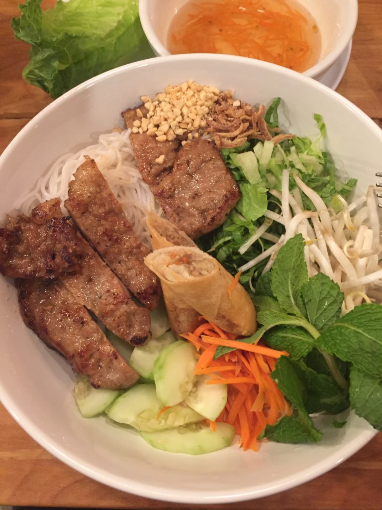 This is a vermicelli bowl; similar ingredients to pho but served cold. Photo taken at The Pho Place/Sushi Lulu, Raleigh NC.