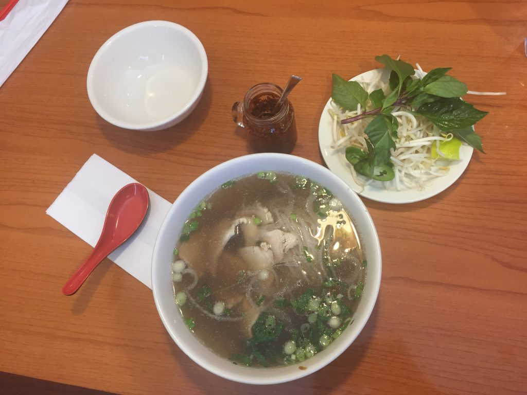 A chicken pho served at Pho Super 9, Raleigh NC. Note that the hot pepper oil was brought on request and not part of regular service.