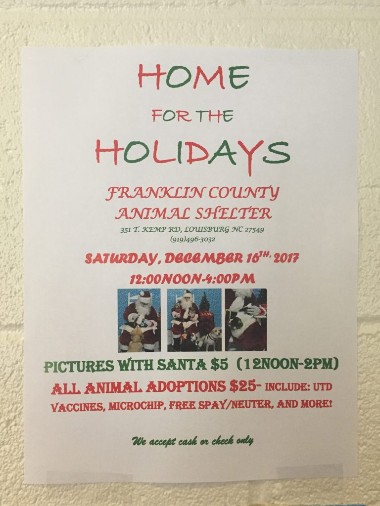 Flyer for event offering pet photos with Santa at the Franklin County Animal Shelter, Louisburg NC, on December 16, 2017.