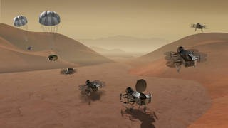 Dragonfly is a dual-quadcopter lander that would take advantage of the environment on Titan to fly to multiple locations, some hundreds of miles apart, to sample materials and determine surface composition to investigate Titan's organic chemistry and habitability, monitor atmospheric and surface conditions, image landforms to investigate geological processes, and perform seismic studies. Credits: NASA