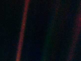Voyager 1 photo of the solar system taken in 1990 showing Earth as a pale blue dot. Source: NASA/JPL