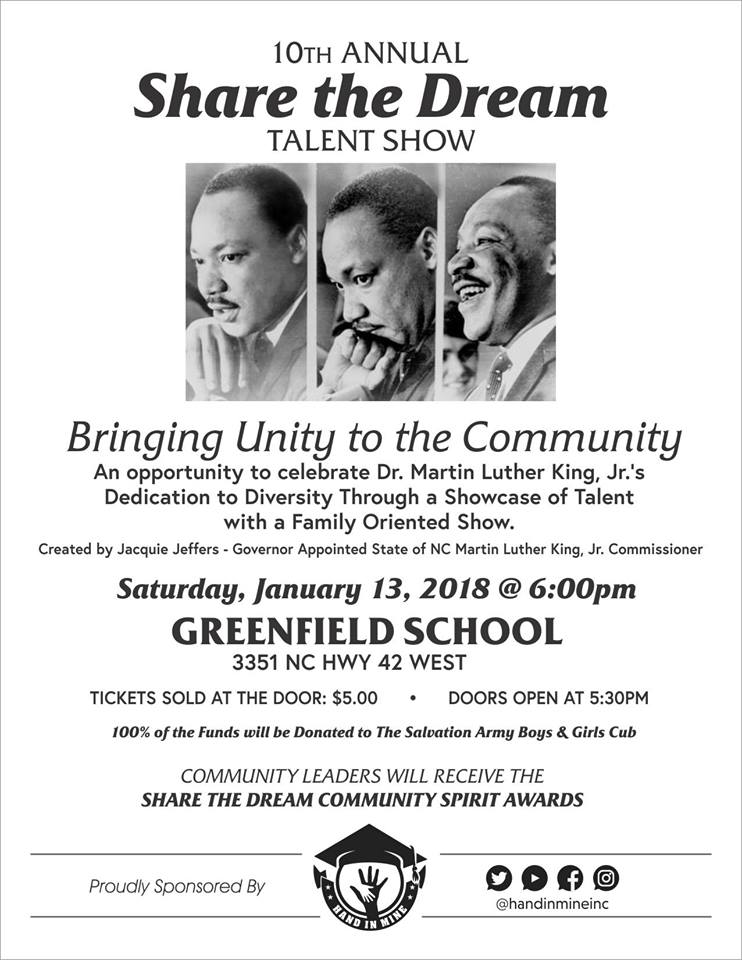Share the Dream 2018 flyer. Source: Jacquie Jeffers, NC Martin Luther King, Jr. Commissioner