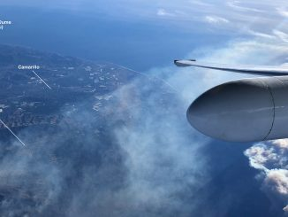 This image offers landmark references to a photo captured from NASA's ER-2 high-altitude science platform carrying JPL's AVIRIS spectrometer instrument as it flies over the Thomas Fire in Ventura County in California on Dec. 7, 2017. Credit: NASA/Tim Williams