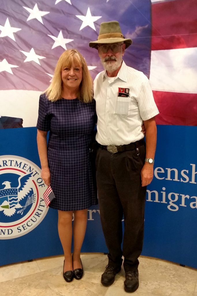 Clina Polloni and her husband, Thomas Allen, in 2016 when she received her US citizenship. Source: Donna Campbell Smith