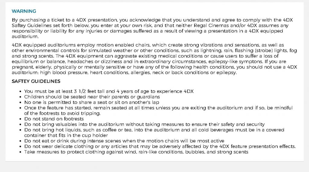 A Regal Cinema ticketing warning (disclaimer) for 4DX ticket purchases.