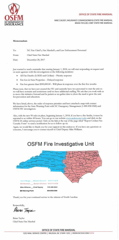 Chief State Fire Marshal Brian Taylor's announcement about the new Fire Investigations Unit. Source: NC Office of State Fire Marshal