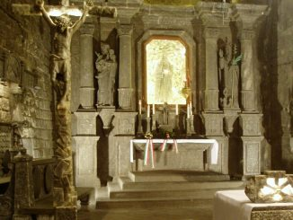 An altar constructed of salt in the Wieliczka salt mines. Source: US Central Intelligence Agency library.