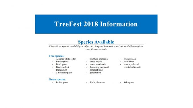 TreeFest 2018 Trees and Grasses List. Source: New Hanover County, North Carolina