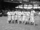 Members of the 1937 American League All-Star team, Lou Gehrig, Joe Cronin, Bill Dickey, Joe DiMaggio, Charlie Gehringer, Jimmie Foxx and Hank Greenberg gather on the field for the fifth annual All-Star Game in Washington, D.C. Source: Library of Congress