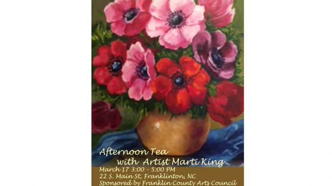 Afternoon Tea with Marti King postcard. Source: Franklin County Arts Council, Franklinton, North Carolina