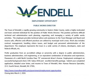 Wendell NC job notice for Public Works Director February 2018.