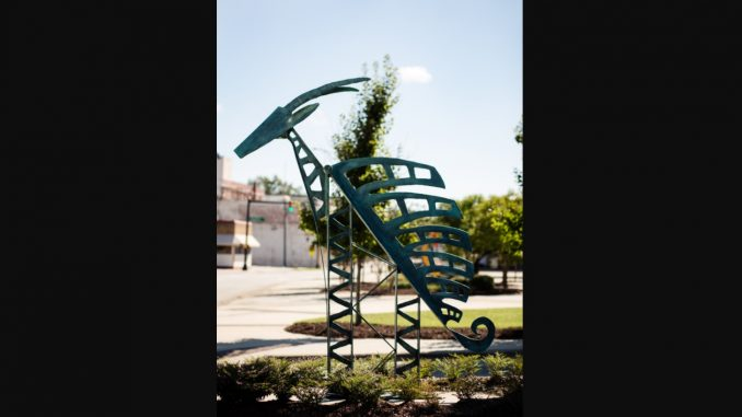 """Alexis Joyner's """"Chi Wara (Antelope)"""" -- the first sculpture by an African-American artist to be featured in the exhibition. Source: City of Rocky Mount NC"""