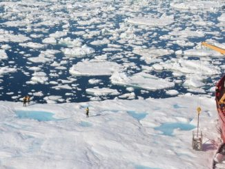 A drone image of the Amundsen with scientists deployed onto the sea ice. Credit: David G. Barber.
